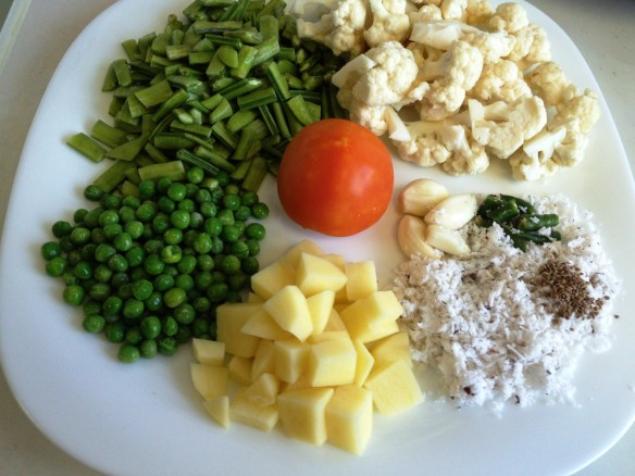 Cluster beans with cauliflower 1