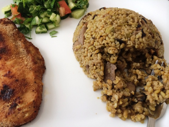 Freekeh with mushrooms