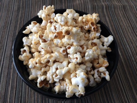 Caramel popcorn with coconut milk