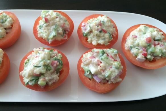 Quinoa salad in tomato cup 1
