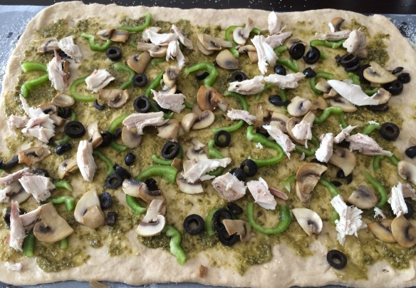 No Knead pesto wheat pizza 2