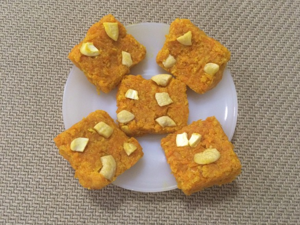 Carrot Burfi with milk powder